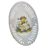 Hummel Lily of the Valley Reutter Porzellan Germany Oval Bowl Pierced