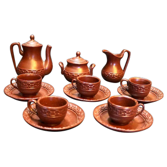 German Pottery Brown Doll Dishes K&K Toy Company 13 Pieces