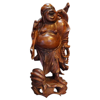 Hotei Folklore Figure Japanese Hardwood Carving