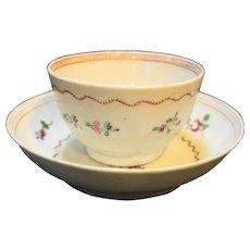 English New Hall Hard Paste Tea Cup Saucer C. 1795 Shelton Hanley Staffordshire