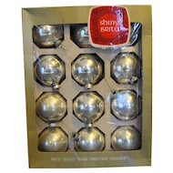 Shiny Brite Silver 12 Ornament With Box 2 1/4 IN Size