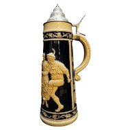 Wick Werke Tall Embossed Tavern Figures Stein 1 1/2 L Pewter lid