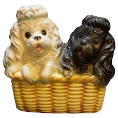 Inarco Japan Poodles Puppies Basket Planter