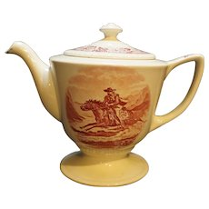 Homer Laughlin Historical America Liberty Red Transfer Cowboy Teapot