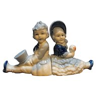 Japan Porcelain Blue White Hand Painted Boy Girl Bookends Shelf Figures