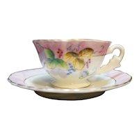 Fern Japan Hand Painted Porcelain Demitasse Cup Saucer