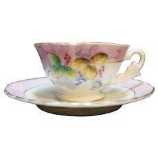 Fern Japan Hand Painted Porcelain Demitasse Cup Saucer