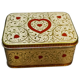 Daher Hearts Red Gold White Tin Box