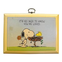 Hallmark Peanuts Snoopy Woodstock Know You're Loved Plaque 1980s