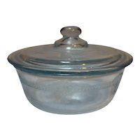 Fire King Oven Glass Sapphire Blue Cereal Bowl Deep Pie Dish Casserole Lid