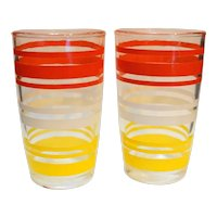 Hazel Atlas 1950s Red Yellow White Stripe Juice Tumblers