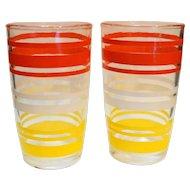 Hazel Atlas 1950s Red Yellow White Stripe Juice Tumblers