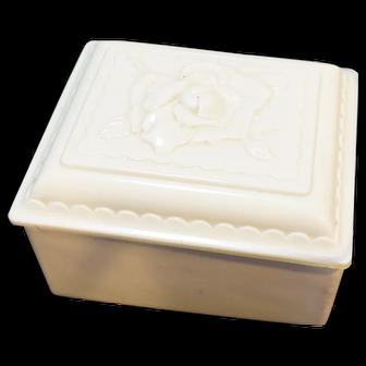 Anchor Hocking Dusty Rose Vitrock Ivory Glass Jewel Box
