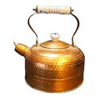 Himark Copper Hammered Tea Kettle Porcelain Handle