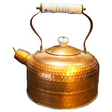 Himark Copper Hammered Tea Kettle Porcelain Handle