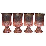 Fostoria Sorrento Pink Wine Glasses Goblets Set of 4