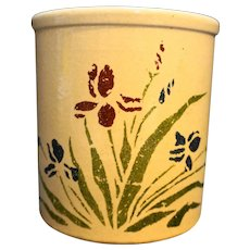 Robinson Ransbottom Iris Stencil High Jar Utensil Crock 1 Qt