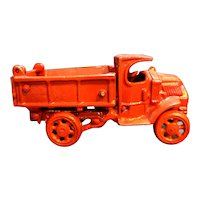 Red Cast Iron Pickup Dump Farm Truck Toy Vintage