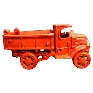 Red Cast Iron Pickup Dump Farm Truck Toy Vintage
