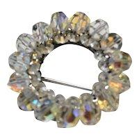 Aurora Borealis Crystal Wreath Circle Pin Vintage 1950s