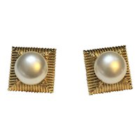 Square Gold Tone Domed Faux Pearl Earrings