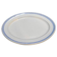 J W Pankhurst Hanley Large Oval Platter Blue Twist Border 17 IN