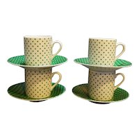 Toscany Collection Japan Green Polka Dot Demitasse Espresso Set 8 Pcs