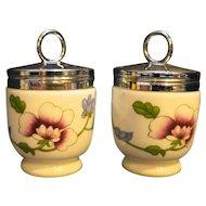 Royal Worcester Astley Egg Coddler Porcelain Floral Pair