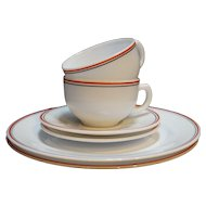 Hazel Atlas Platonite White Red Black Stripe Plates Cups Saucers 6 PCS