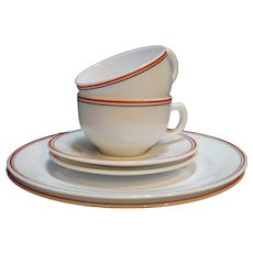 Hazel Atlas Platonite White Red Black Stripe Plates Cups Saucers 6 PCS
