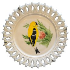 Kemple Glass Sheaf of Wheat White Milk Glass 7 IN Salad Plate Hand Painted Goldfinch