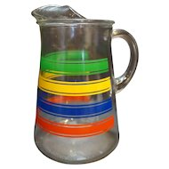Striped Glass Pitcher Vintage Kitchenware Primary Green Yellow Blue Red