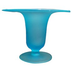 Sky Blue Satin Glass Small Trumpet Vase