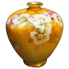 Nippon Hand Painted Bulbous Bud Rose Vase