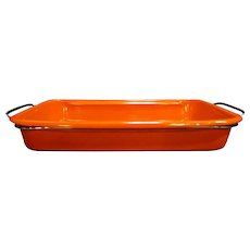 Orange Enamel Lasagna Pan US Stamping Company New In Box