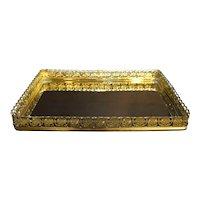 Mirror Vanity Dresser Tray Gold Tone Filigree Frame