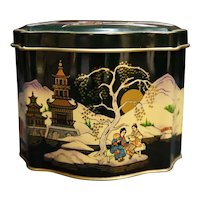Black Pagoda Oriental Scene Small Tin