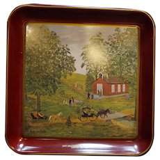 Grandma Franklin 1977 Metal Tray Red Schoolhouse Scene