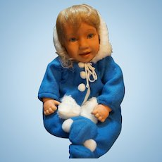 Pat Secrist Jilly Bean 1997 Vinyl Cloth Doll Baby Blue Snowsuit Blond 21 IN