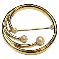 Monet Circle Pin Gold Tone Faux Pearls
