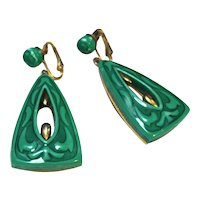 Jade Green Molded Doorknocker Earrings Gold Tone