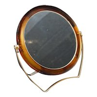 Root Beer Lucite Magnifying Mirror Vintage