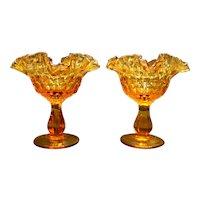 Fenton Colonial Amber Thumbprint Compotes Pair 6 IN