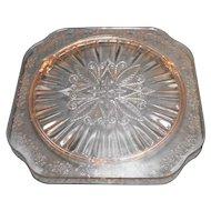 Jeannette Depression Glass Adam Pink Square Cake Plate