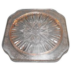 Jeannette Depression Glass Adam Pink Square Cake Plate