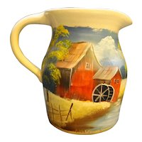 Marshall Pottery Hand Painted Hand Turned Stoneware Pitcher Jug