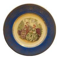 Century by Salem Victorian Ladies Portrait Plate Blue Rim Gold Decoration