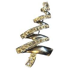 Monet Rhinestone Christmas Tree Pin Silver Tone