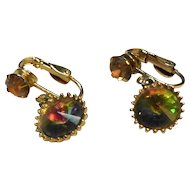 Watermelon Rivoli Rhinestone Drop Clip Earrings