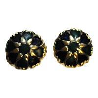 Blue Green Enamel Hearts Gold Tone Earrings Clips